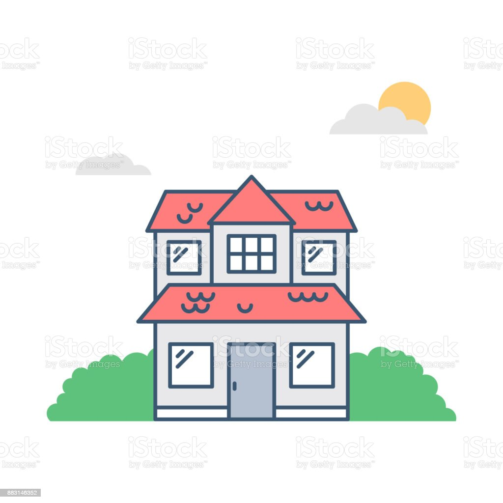 Haus Mit Rotem Dach Vektor Illustration Lizenzfreies Haus Mit Rotem  Dachvektorillustration Stock Vektor Art