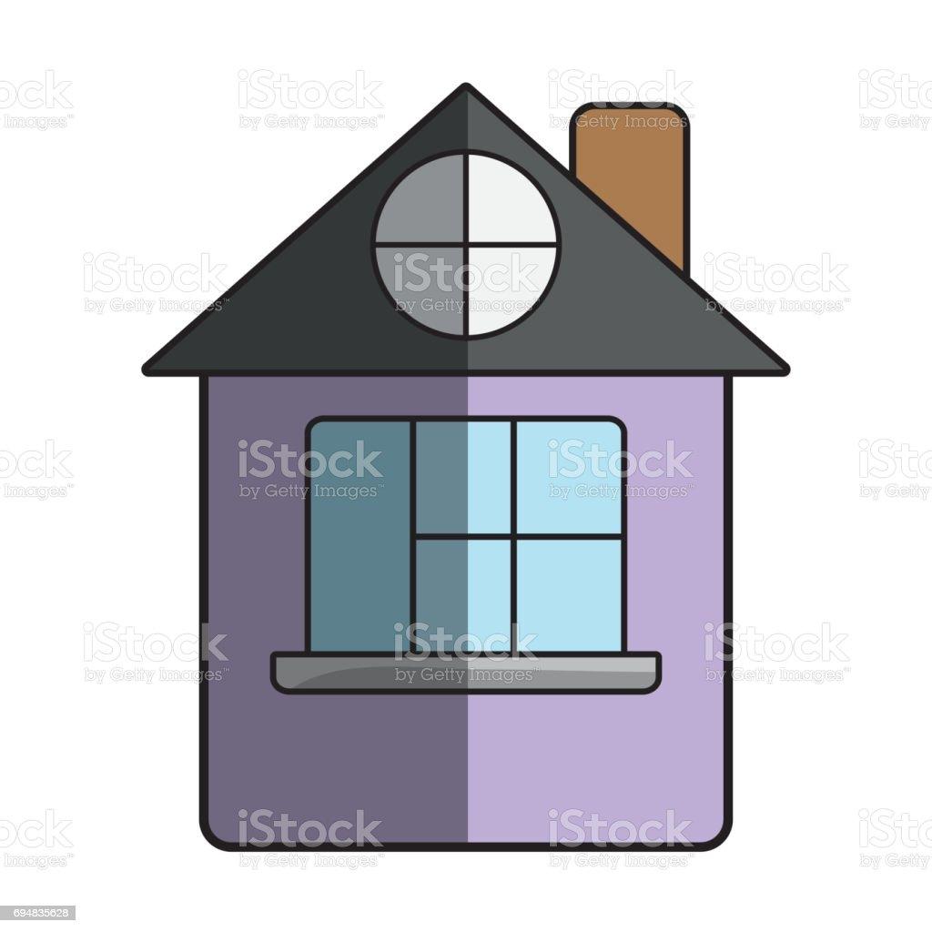 Ilustración de Casa Con Techo Y Ventana y más banco de imágenes de ...