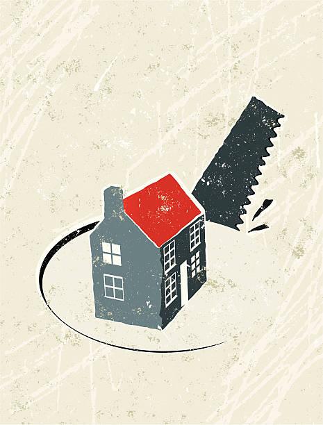 Casa con sierra y orificio pasante - ilustración de arte vectorial