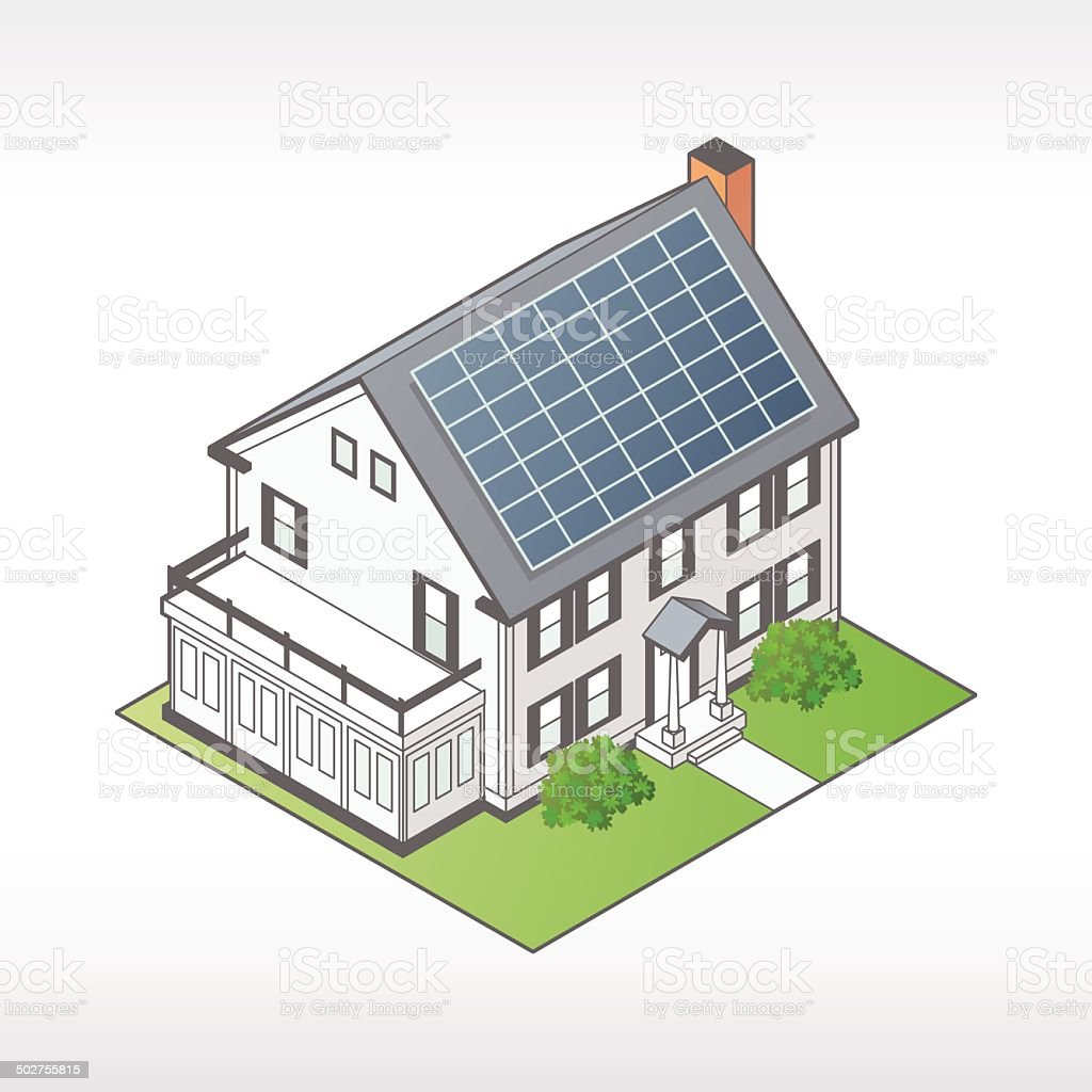 House with Solar Panels Illustration vector art illustration