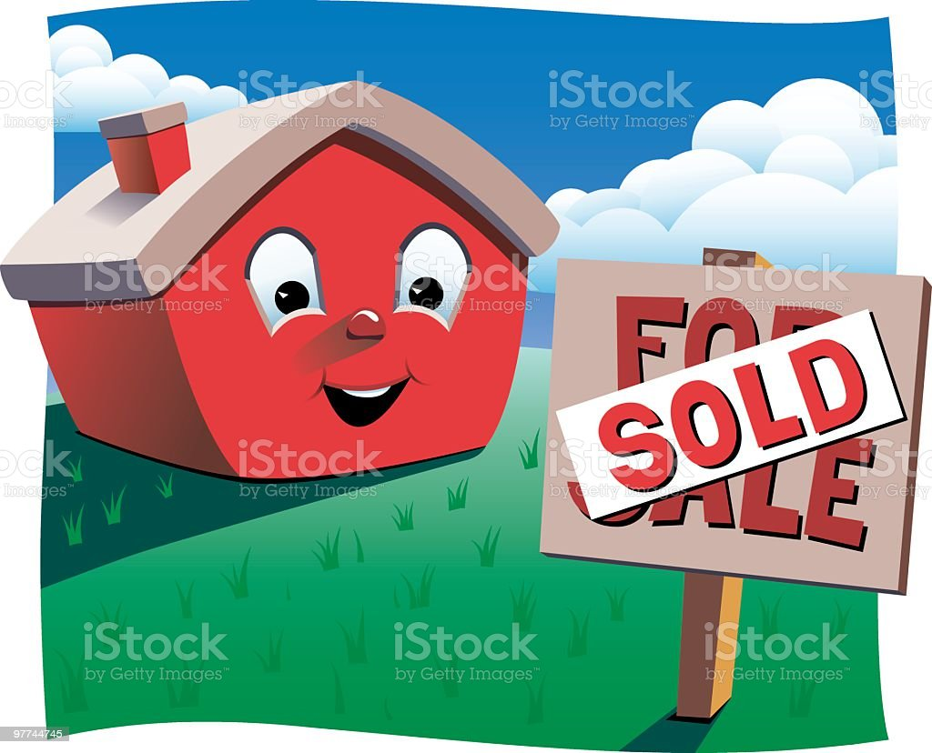 House with Sold sign royalty-free stock vector art