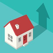 A conceptual illustration symbolizing the rising price or value of real estate. Red and white house sitting on teal background.
