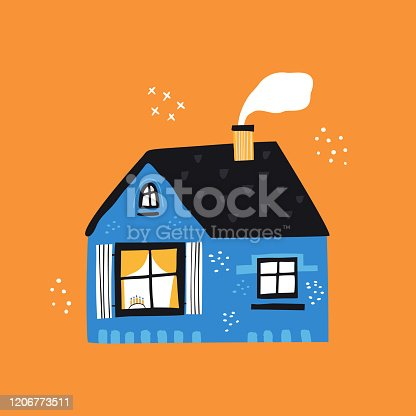 istock House with tiled roof flat vector illustration 1206773511