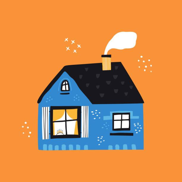 ilustrações de stock, clip art, desenhos animados e ícones de house with tiled roof flat vector illustration - hygge
