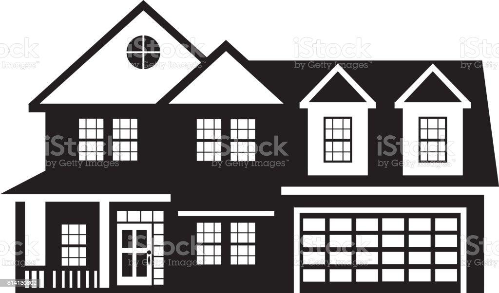Nice Haus Mit Zwei Auto Garage Schwarz Weiß Illustration Lizenzfreies Haus Mit  Zwei Auto Garage Schwarz Weiß