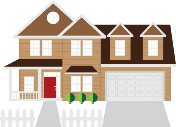 House with Two-Car Garage Color Illustration Two level house with two car garage color outline illustration driveway stock illustrations