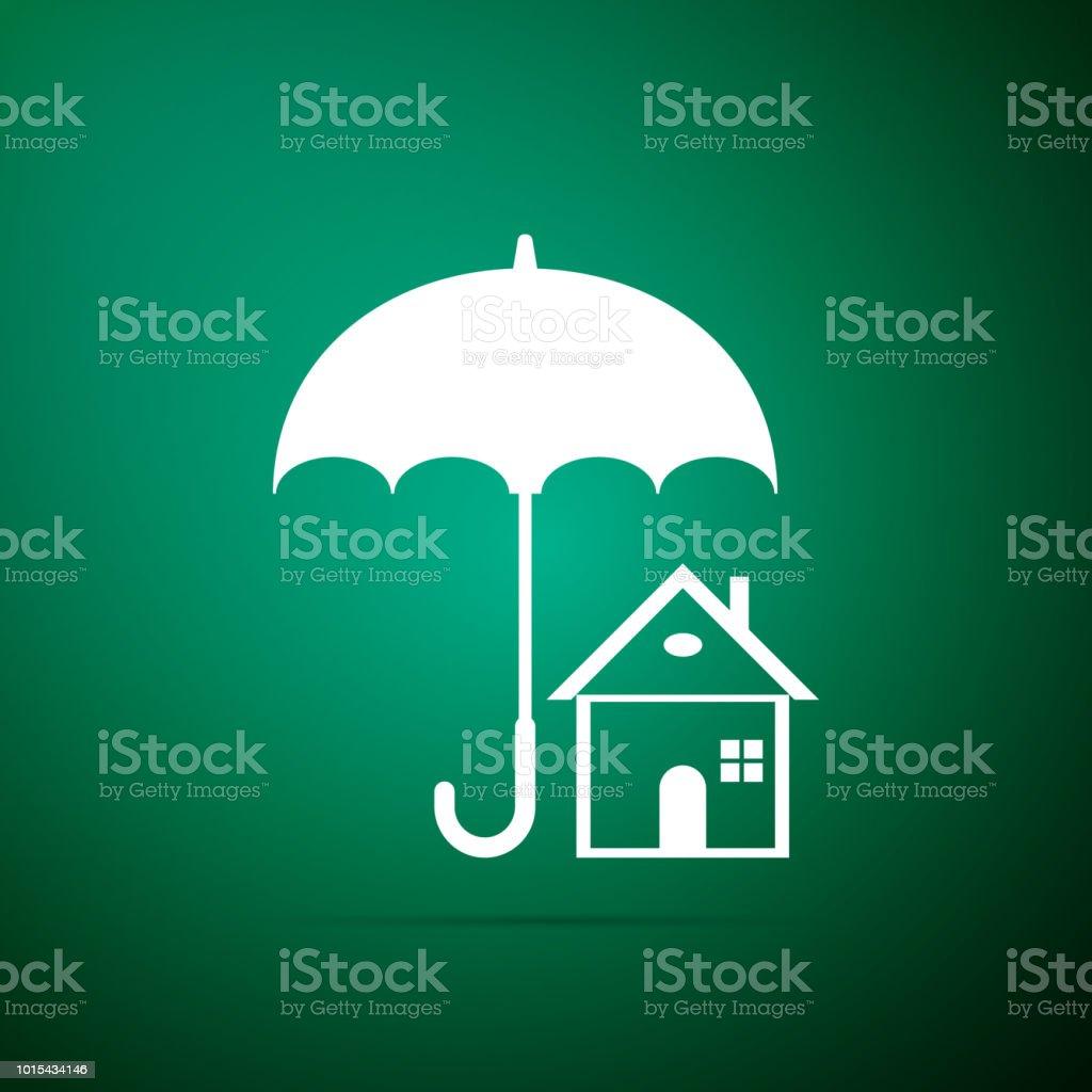 Haus Mit Schirmsymbol Isoliert Auf Grunem Hintergrund Immobilien