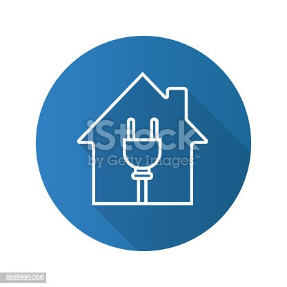 Haus Mit Draht Stecker Symbol Vektor Illustration 858995056   iStock