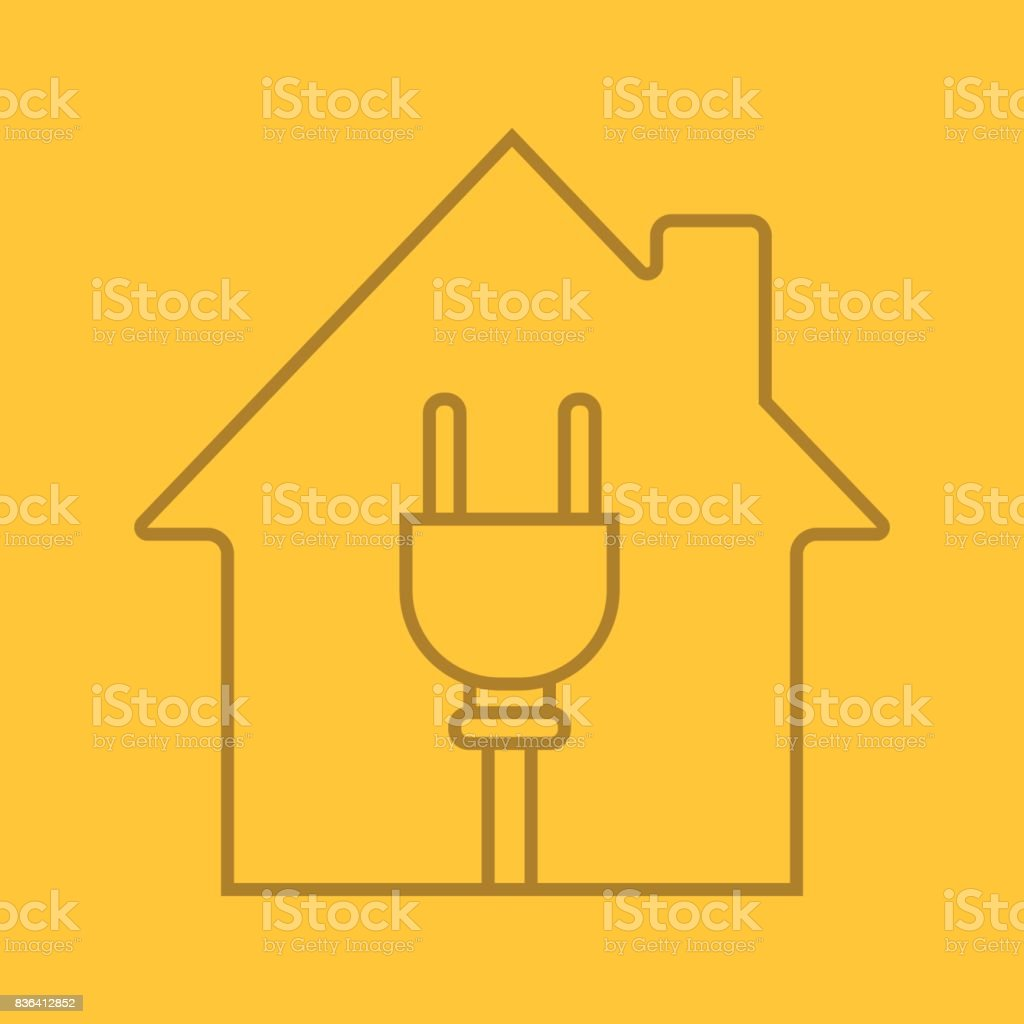 House with wire plug inside icon vector art illustration