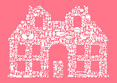 House Women's Rights and Girl Power Icon Pattern. The outlines of the main shape are filled with various women's rights and girl power icons. The icons are white in color. They form a seamless pattern and work in unison to complete this composition. The individual icons include classic girl power imagery of women in various aspects of life and promote social equality and achievement.