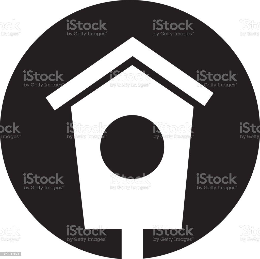 house wooden bird icon vector art illustration