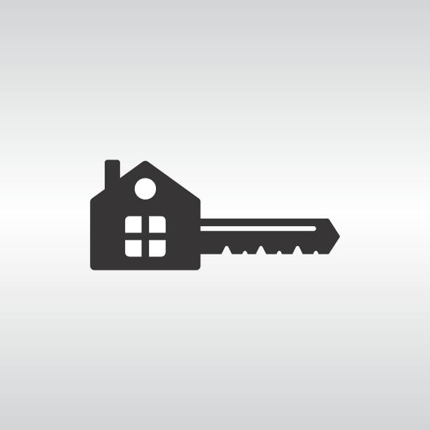 house_key Key icon with a base in the shape of a house isolated on white background vector illustration. Symbol, concept of mortgage, rental housing, apartment, home. Can be used for logo, advertising, icons, cards, business cards. house key stock illustrations