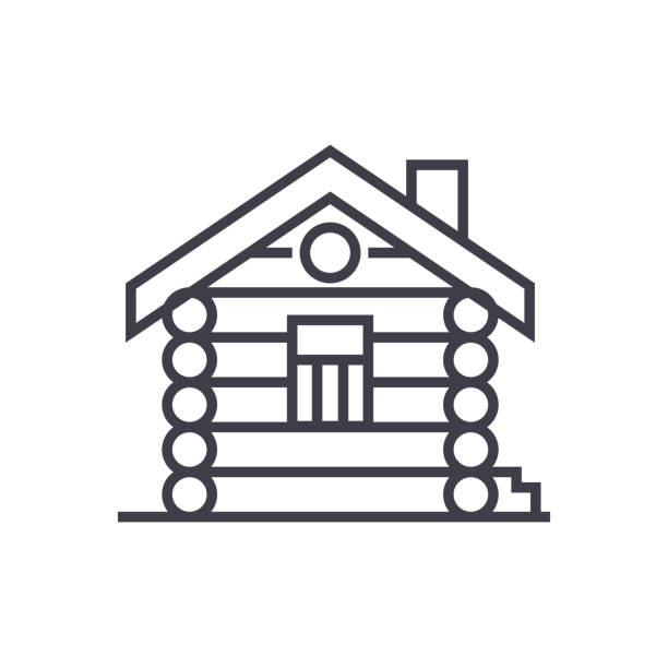 house,cabin,wood house vector line icon, sign, illustration on background, editable strokes - log cabin stock illustrations, clip art, cartoons, & icons