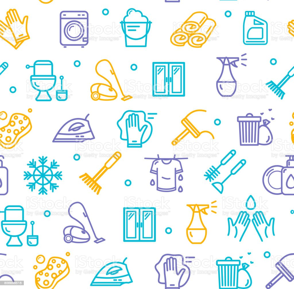 Household and Cleaning Tools Pattern Background on a White. Vector