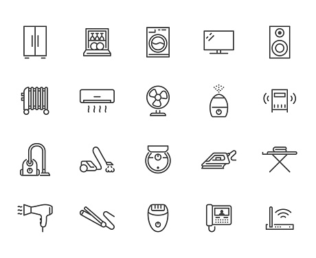Household appliance line icon set. Washing machine, humidifier robot vacuum cleaner, curling iron minimal vector illustration. Simple outline signs for electronics. Pixel Perfect Editable Stroke