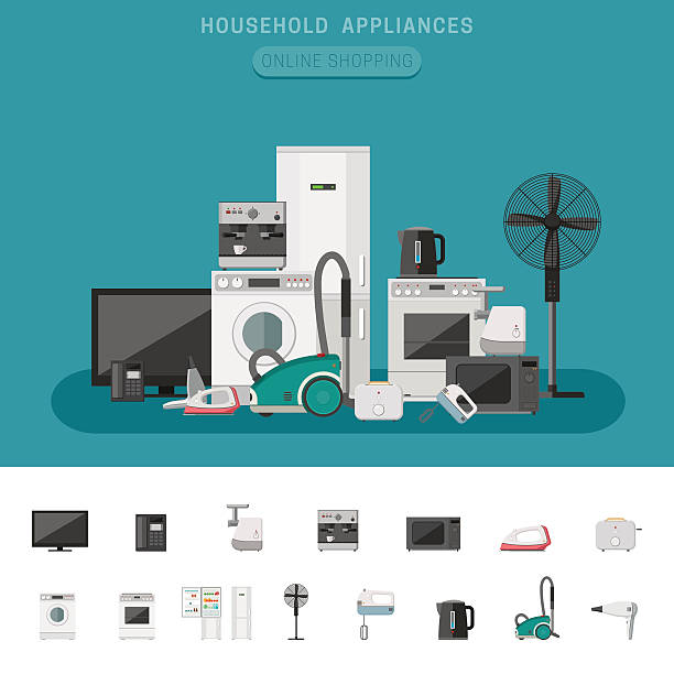Household appliance Household appliance banner with vector flat icons microwave, coffee machine, washing machine, etc. electrical equipment stock illustrations