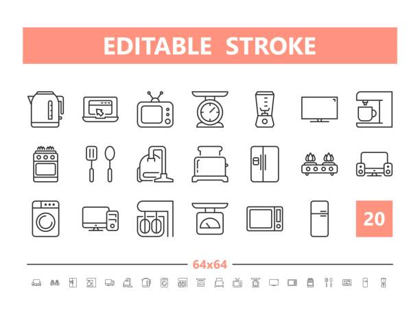 Household appliances 20 line icons. Vector illustration in line style. Editable Stroke, 64x64, 256x256, Pixel Perfect. Household appliances 20 line icons. Vector illustration in line style. Editable Stroke, 64x64, 256x256, Pixel Perfect. dishwashing machine stock illustrations