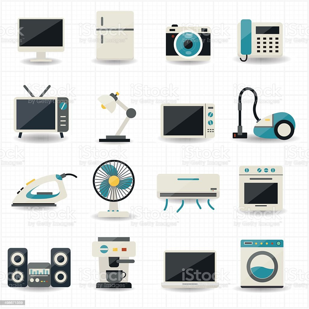 Household Appliances And Electronic Devices Icons Stock ...