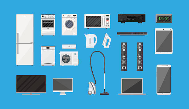 Household Appliances and Electronic Devices set Household Appliances and Electronic Devices set on blue background. vector illustration in flat style electrical equipment stock illustrations