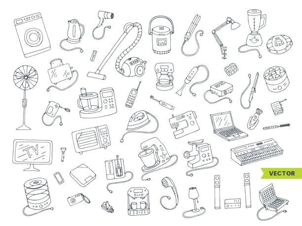 haushaltsgeräte doodle handgezeichnete großen icons set. - küchenmixer stock-grafiken, -clipart, -cartoons und -symbole