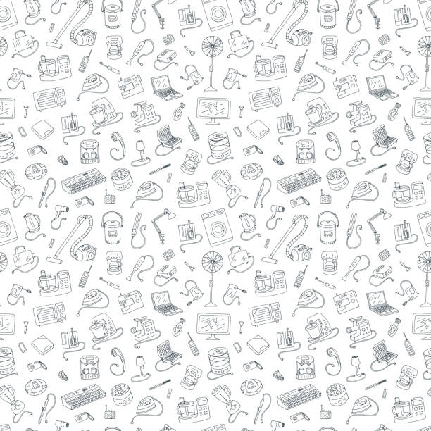 Household appliances doodle hand drawn style seamless pattern. Outline illustration of electrical equipment. electrical equipment stock illustrations