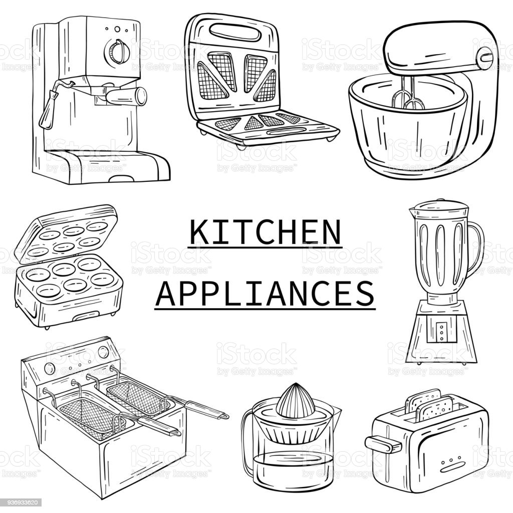 Household Appliances For The Kitchen Cafe And Restaurant Vector ...
