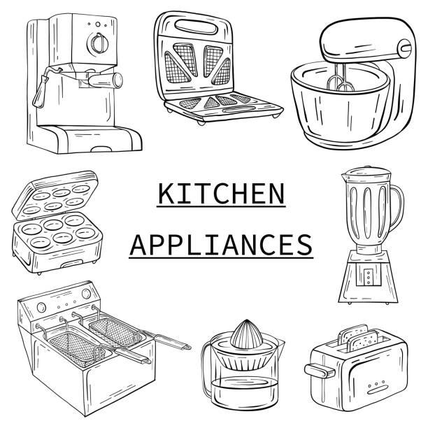 haushaltsgeräte für küche, café und restaurant. vektor-illustration in der hand gezeichnet grafiken - küchenmixer stock-grafiken, -clipart, -cartoons und -symbole