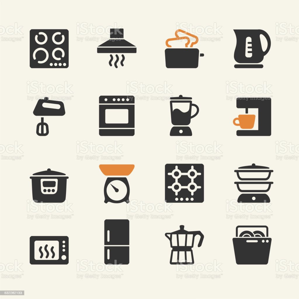 Household appliances for the kitchen. Web icons collection vector art illustration