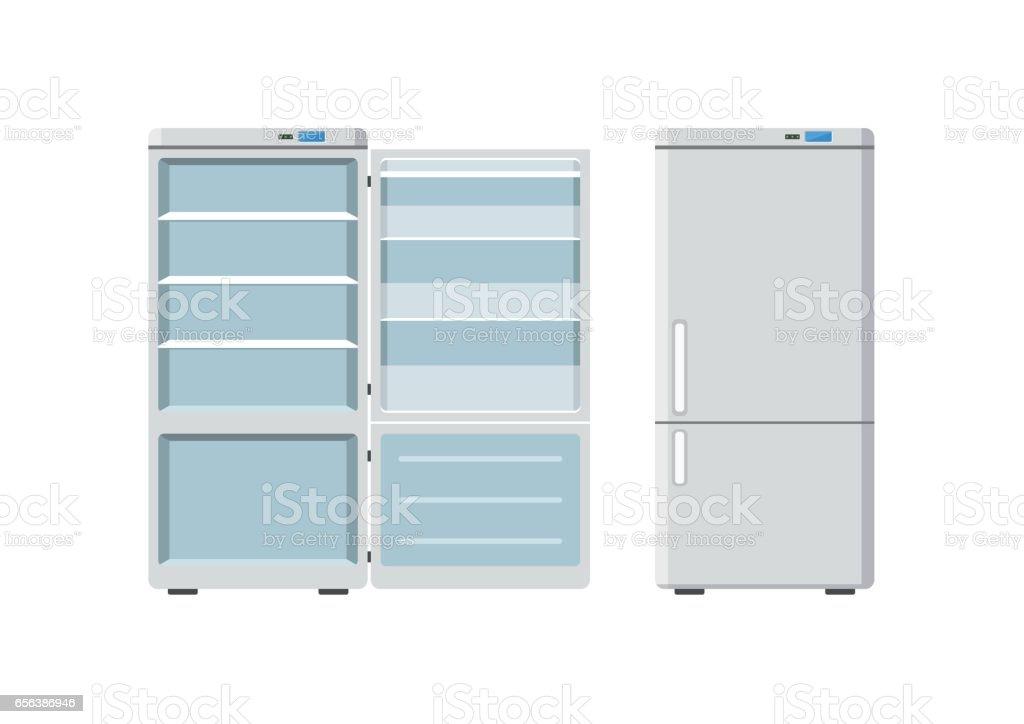 Haushaltsgeräte Kühlschrank Offen Und Geschlossen Isolierten Auf ...