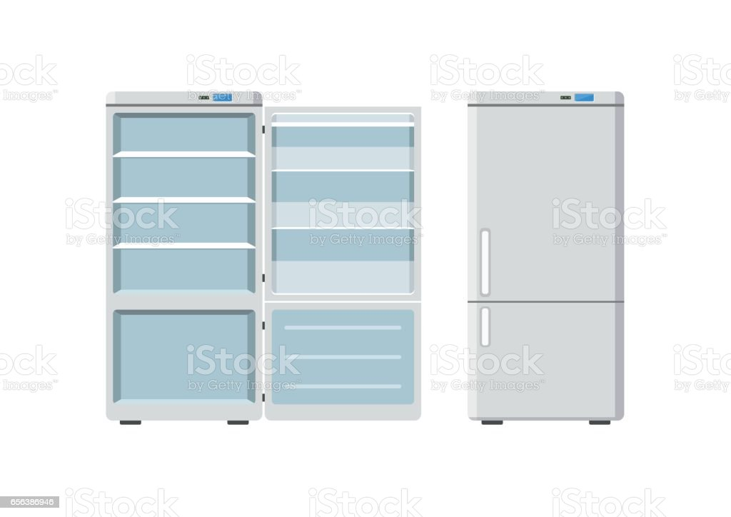 Household appliances fridge open and closed isolated on white background. Electronic device refrigerator. Home appliance freezer vector illustration vector art illustration