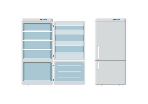 haushaltsgeräte kühlschrank offen und geschlossen isolierten auf weißen hintergrund. elektronisches gerät kühlschrank. haushaltsgerät gefrierschrank-vektor-illustration - kühlschränke stock-grafiken, -clipart, -cartoons und -symbole