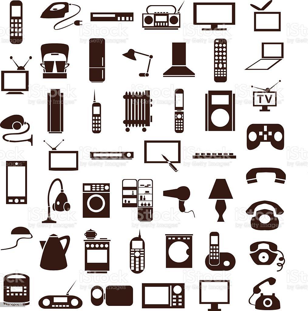 household appliances icons on white vector art illustration