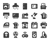 Household Appliances Icons Vector EPS File.