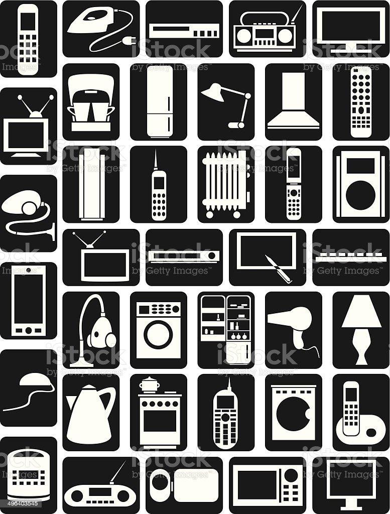household appliances icons vector art illustration