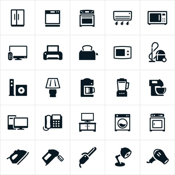 Household Appliances Icons An icon set of common household appliances. The icons represent common electrical appliances that we use in our homes, sometimes on a daily basis and include a refrigerator, dishwasher, stove, air conditioner, microwave, television, printer, toaster, vacuum, lamp, coffee maker, blender, mixer, computer, telephone, cloths washer, cloths dryer, iron, hand mixer and blow dryer to name a few. oven stock illustrations