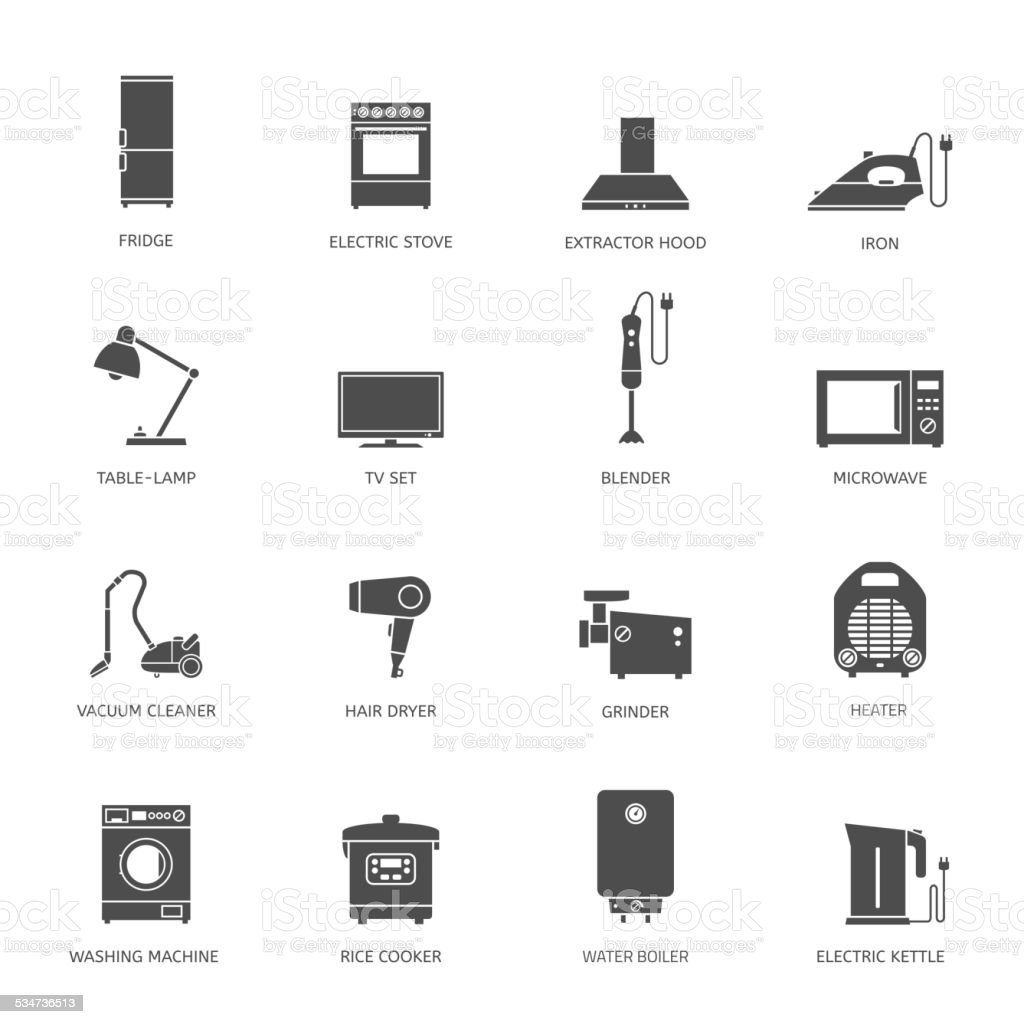 Household appliances icons vector art illustration