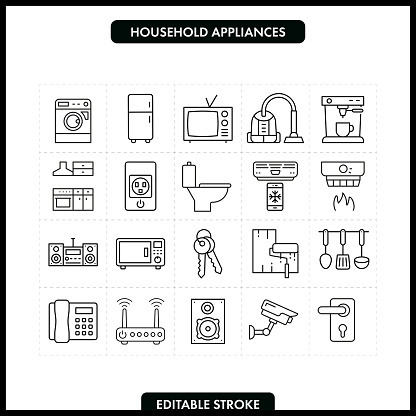 Household Appliances Line Icon Set. Editable Stroke