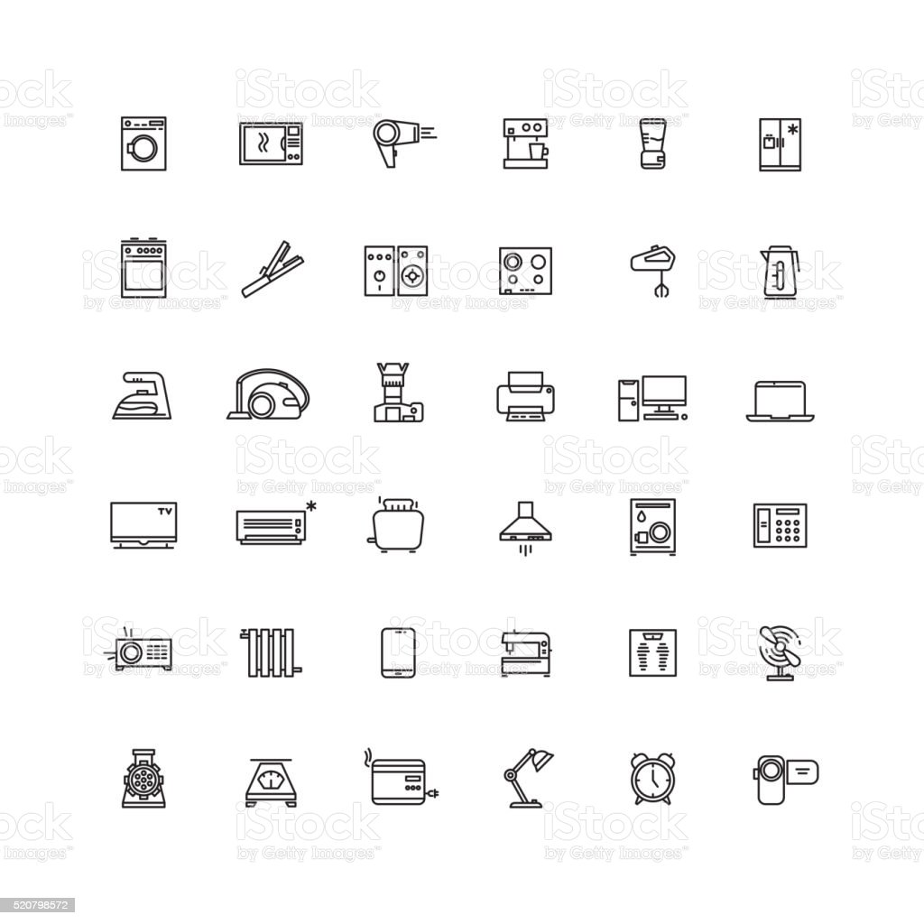 Household appliances line vector icons vector art illustration