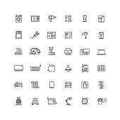 Household appliances line vector icons
