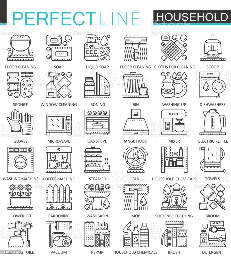 Household Appliances Outline Concept Symbols Perfect Thin Line Icons