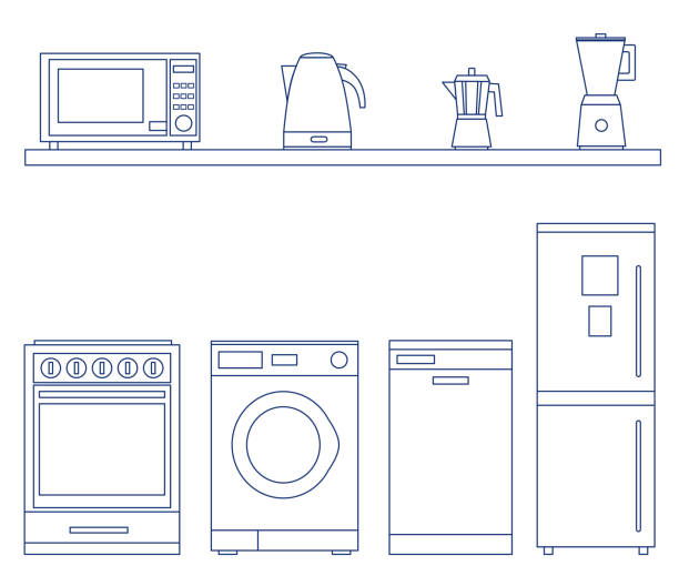 Household Appliances set. Household Appliances set. Blue color. Thin line vector illustration for icon or poster, sale banner design. Isolated on white background. dishwashing machine stock illustrations