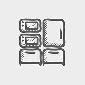Household appliances sketch hand drawn doodle icon for web, mobile and infographics. Hand drawn vector dark grey icon isolated on light grey background.