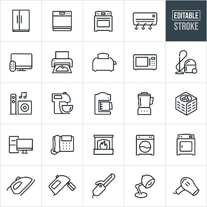 Household Appliances Thin Line Icons - Editable Stroke
