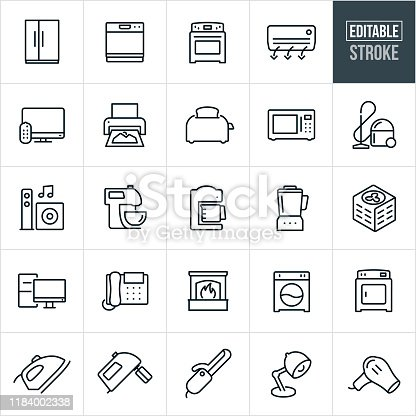 A set of home appliances icons that include editable strokes or outlines using the EPS vector file. The icons include a side by side refrigerator, dishwasher, oven, stove, air conditioner, television, printer, toaster, microwave, vacuum, entertainment system, speakers, kitchen mixer, coffee maker, blender, air conditioner, desktop computer, office telephone, fireplace, washer, dryer, iron, hand mixer, curling iron, lamp and blow dryer.