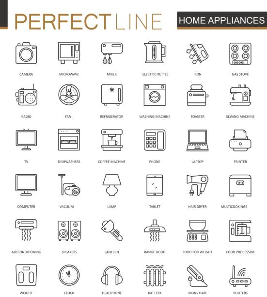 Household appliances thin line web icons set. Outline stroke icons design. vector art illustration