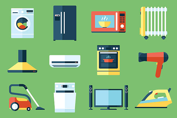 Household appliances Vector collection of household appliances icons. Flat style. oven stock illustrations