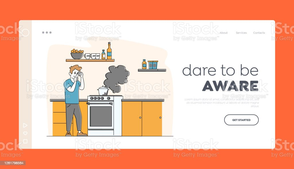 Household Character Every Day Routine Landing Page Template. Man at Oven with Burning Fire in Pan. Housekeeping Chores - Royalty-free Adulto arte vetorial