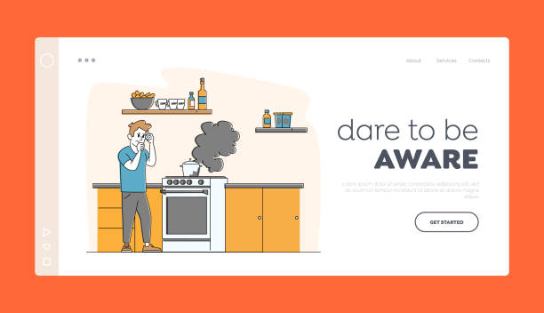 ilustrações de stock, clip art, desenhos animados e ícones de household character every day routine landing page template. man at oven with burning fire in pan. housekeeping chores - burned oven