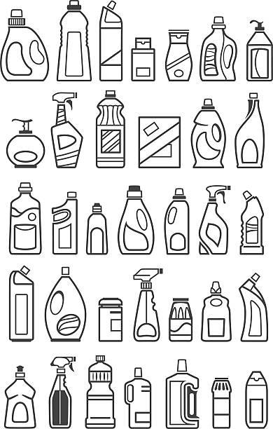illustrazioni stock, clip art, cartoni animati e icone di tendenza di icone di sostanze chimiche di uso domestico - grocery home
