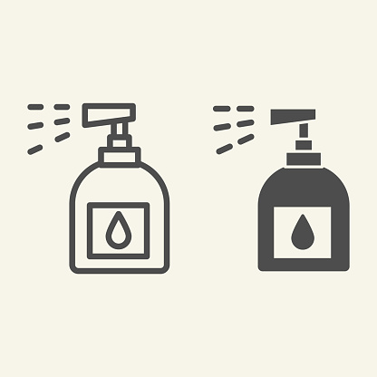 Household chemicals line and solid icon. Spray bottle symbol, outline style pictogram on beige background. Plastic bottle for cleaning sign for mobile concept and web design. Vector graphics.